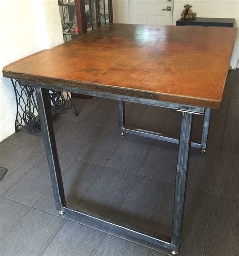 steel bar table frame crafted bar height dining table with concrete top and