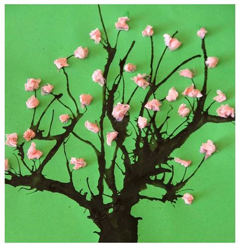 Tissue Paper Tree Craft - paper crafts for children 187 tissue paper