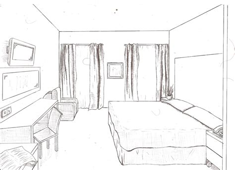 sketch of a bedroom 1 point of view room in drawing drawings from floor