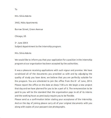 sle internship cover letter exle 12 download
