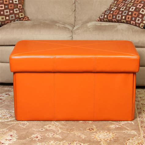 orange ottoman storage orange storage ottoman stylish and functional storage