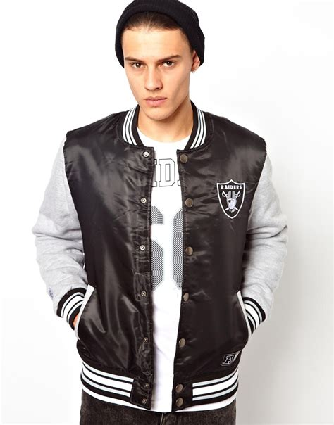 Varsity Majestic Original majestic raiders baseball jacket with jersey sleeves where to buy how to wear