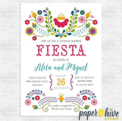 Home Decor Hours by Fiesta Invitation Fiesta Couples Shower Invitations