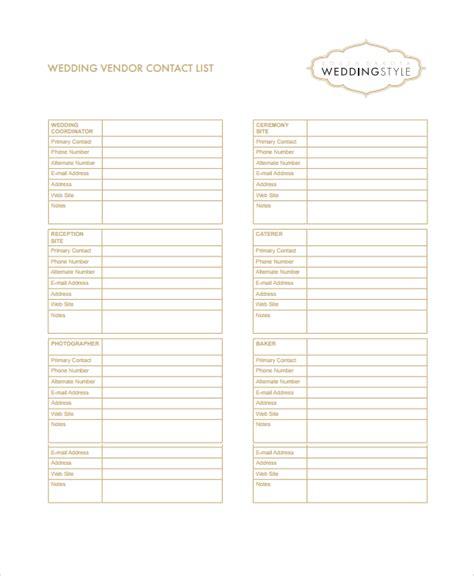 sle vendor list template 6 free documents download