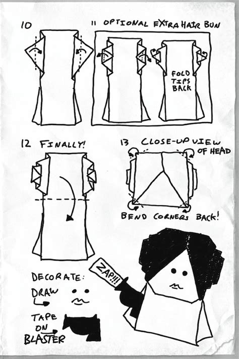 How To Fold Origami Princess Leia - how to make an origami princess leia waterstones