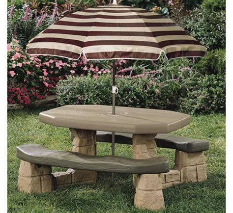 playful picnic table with umbrella rainwear
