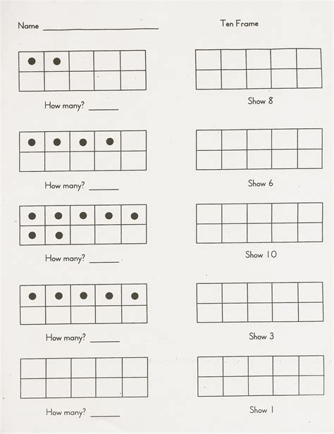 Ten Frame Worksheet by Free Ten Frame Worksheets For Kindergarten 6 Best