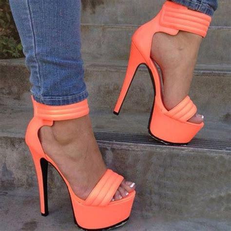bright orange high heels shoes neon sandals coral orange heels neon orange