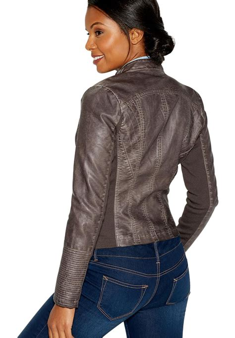 womens knit moto jacket maurices s distressed moto jacket with ribbed knit
