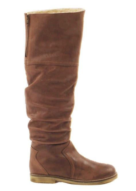 rebel brown knee high leather boots rebel