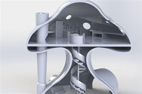 mushroom house design livable mushroom house solidworks 3d cad model grabcad