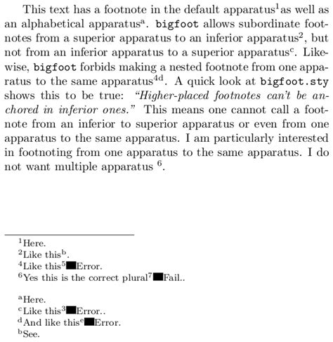 footnote format in latex numbering nested footnotes tex latex stack exchange