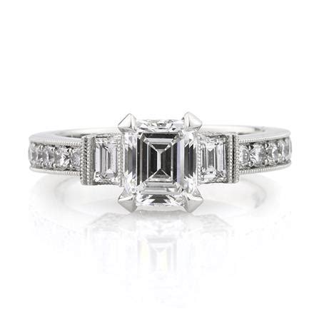2 37ct emerald cut engagement ring