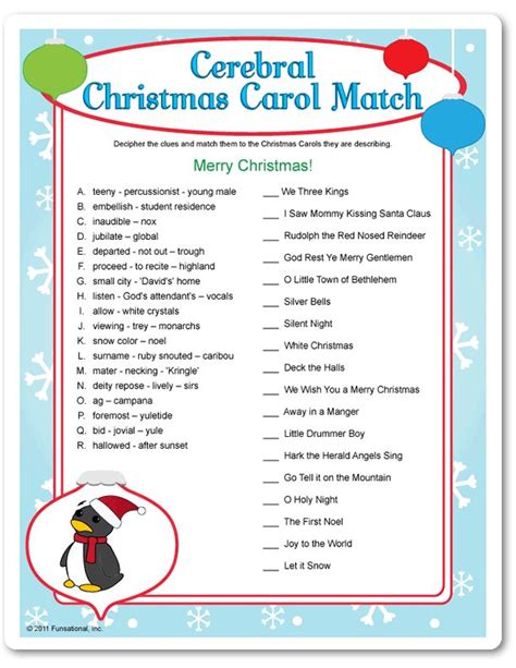printable christmas music games printable cerebral christmas carol match events