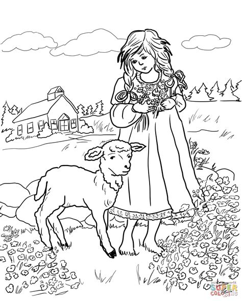 mary with a little lamb coloring page free printable