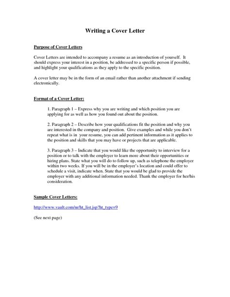 purpose of resume cover letter sles of resumes