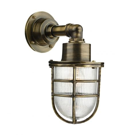 crewe nautical industrial style outdoor wall light in brass