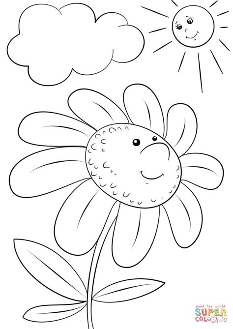 cartoon flower coloring page cartoon flower character coloring page free printable