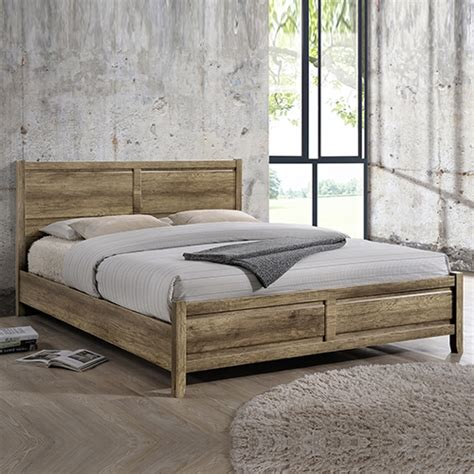 Pole Bed Frames Comfortable Bed Frame Mdf Oak Colour Aesthetic Pole Legs Flat Pack Ebay