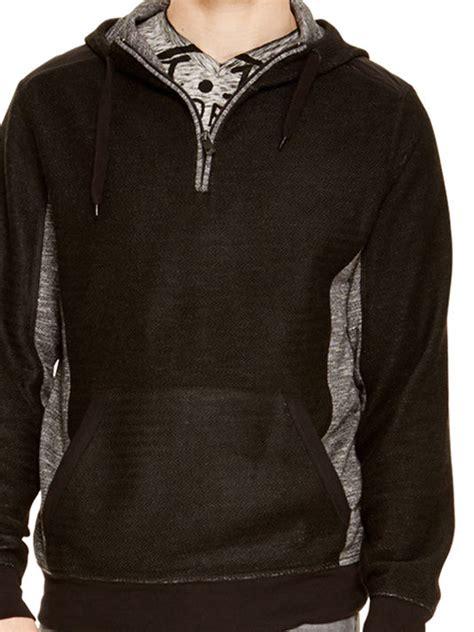 Hoodie Zipper Dkny dkny herringbone terry zip hoodie in black for lyst