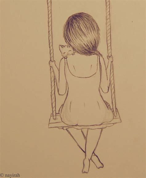 swing drawing girl sitting on swing google search art pinterest