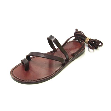 leather strappy sandals handmade flat strappy sandals in brown calf leather