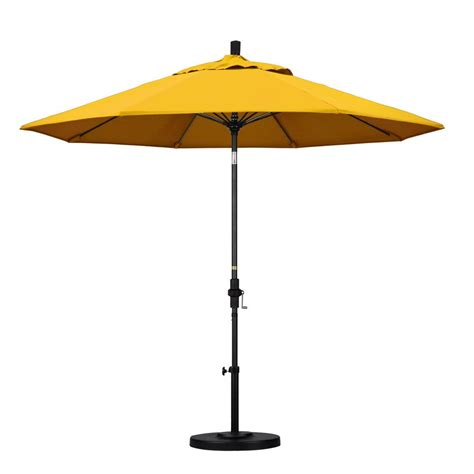 Yellow Patio Umbrella California Umbrella 9 Ft Fiberglass Collar Tilt Patio Umbrella In Yellow Pacifica Gscuf908705