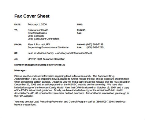 sample standard fax cover sheet  documents  word