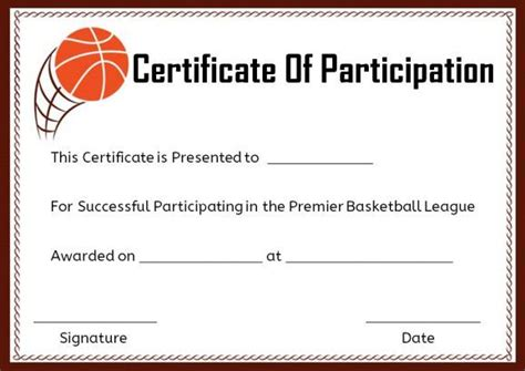 basketball c certificate template basketball certificate of participation template