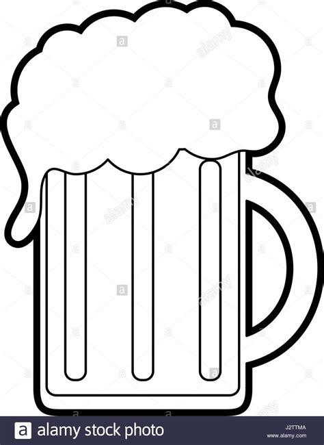 cartoon beer black and white black silhouette cartoon beer jar glass with foam stock