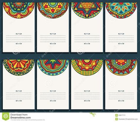 Mexican Id Card Template by Set Of 8 Cards With Mexican Ornaments Stock Vector Image