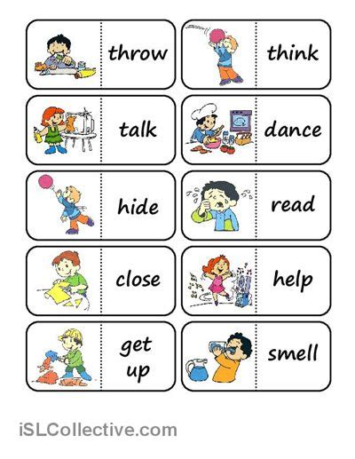 printable domino cards action words domino worksheet free esl printable