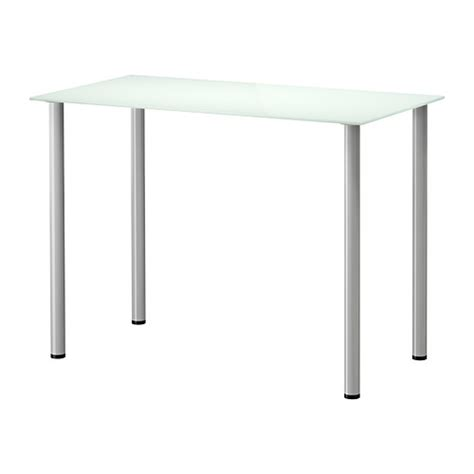 Glasholm Adils Table Verre Blanc Couleur Argent Ikea Table De Bureau Ikea