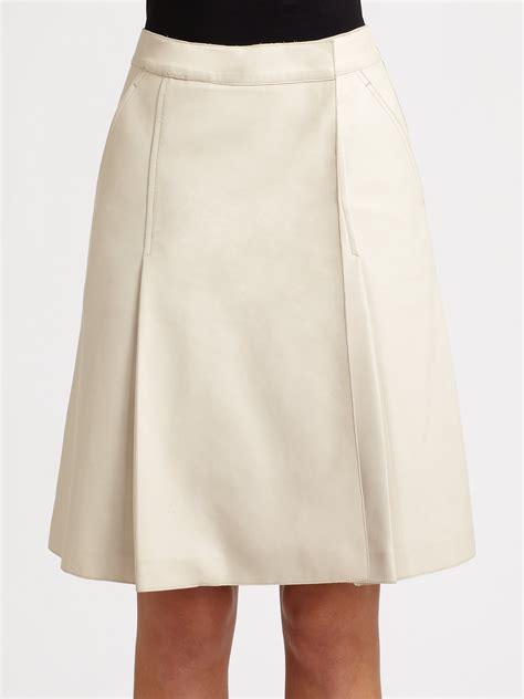 rochas leather skirt in white white lyst