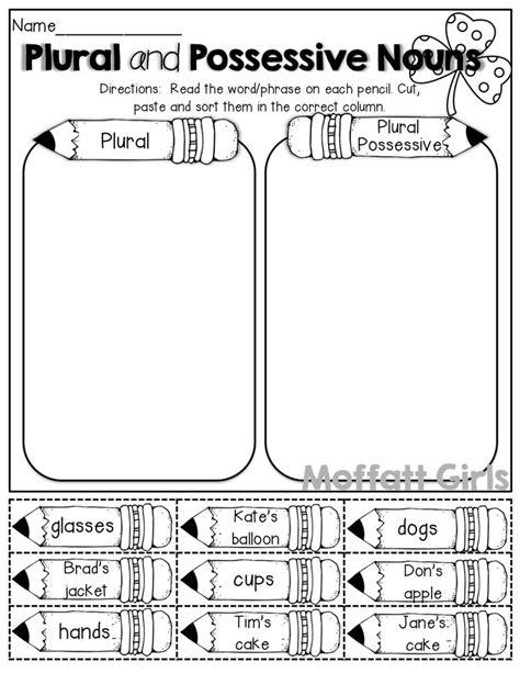 Singular Possessive Nouns Worksheet by Singular And Plural Possessive Nouns Worksheets 3rd Grade