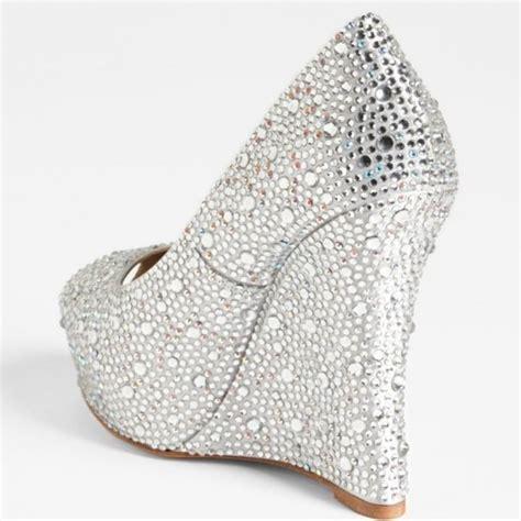 Silver Bridal Wedges by Silver Wedding Heels Rhinestone Peep Toe Wedge Heel Pumps