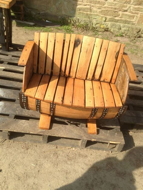 whiskey barrel bench secondhand vintage and reclaimed chairs oak barrel