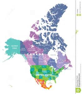 usa map with mexico and canada colored map of usa canada and mexico states stock vector