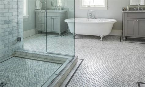 carrara marble bathroom floor carrara marble herringbone bathroom traditional