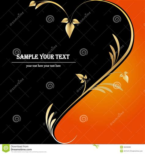 orange black design floral black orange gold background heart royalty free