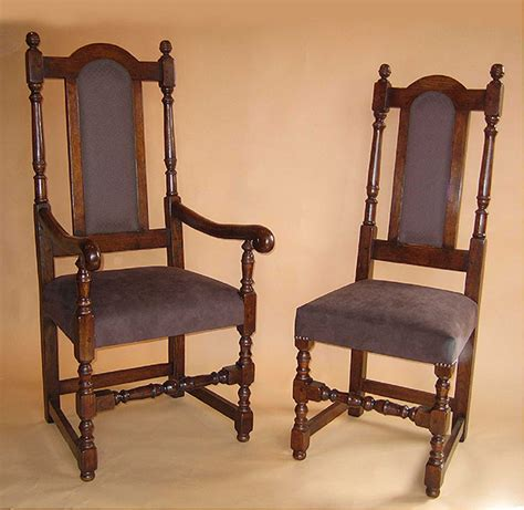 Superb Value C17th Style Upholstered Upholstered Seat Back Period Style Oak Dining Chairs