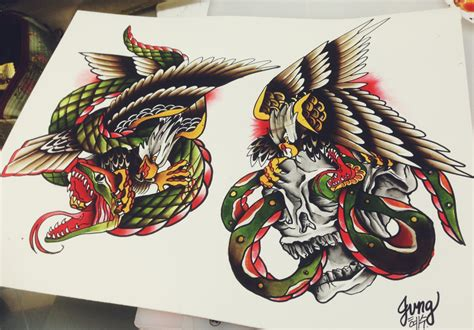 old school snake tattoo designs multicolor school eagle and snake design
