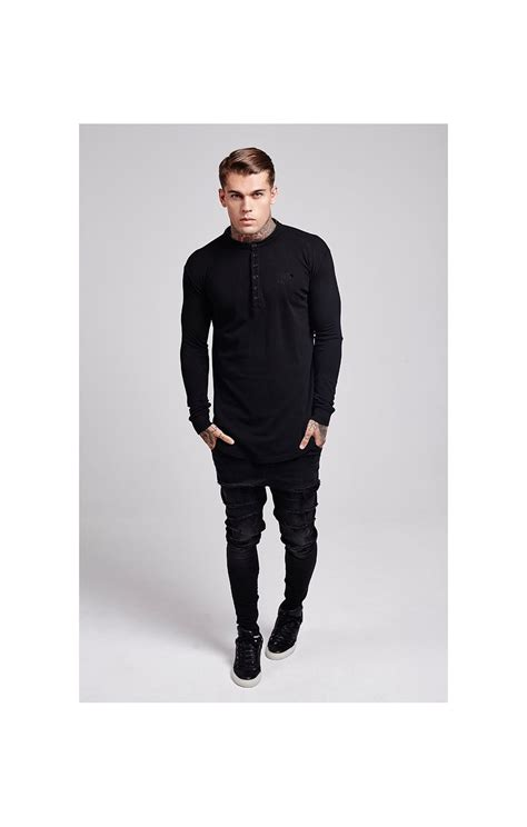 Siksilk Collarless Polo Shirt siksilk collarless polo shirt black