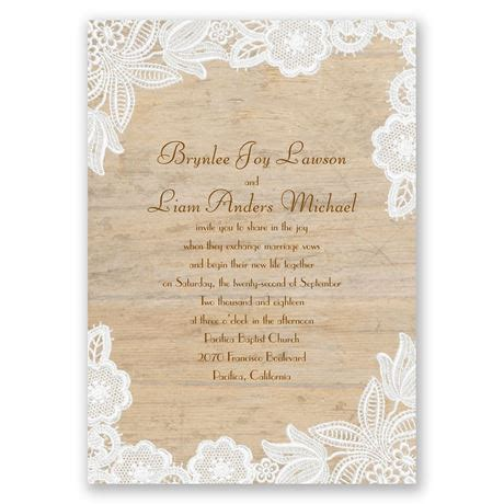 lace wedding invitations wood and lace invitation invitations by