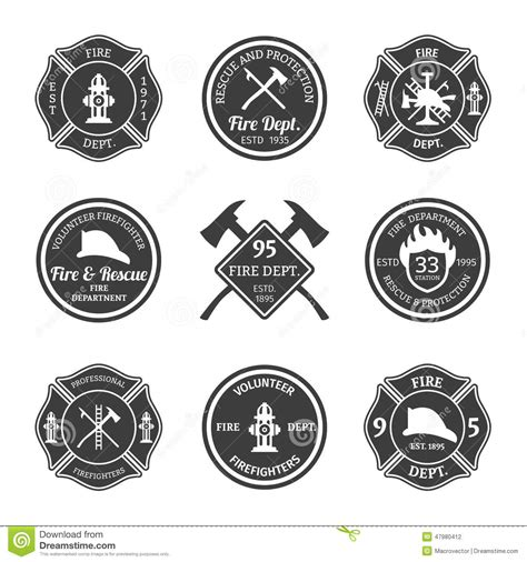 fire department emblems black stock vector image 47980412