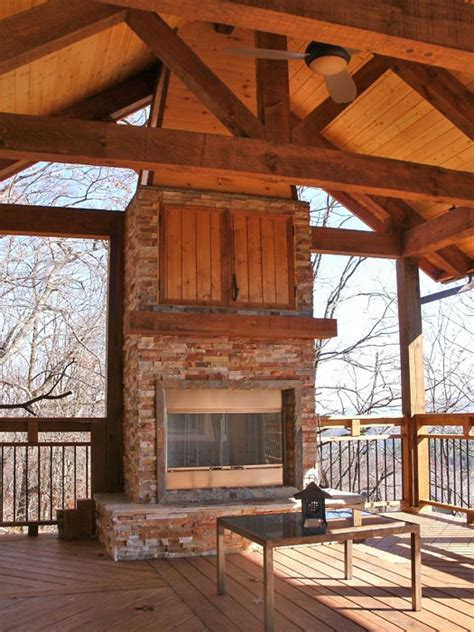 outdoor covered high deck with fireplace covered deck