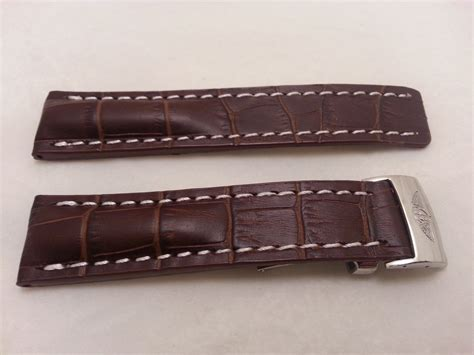 S W A T Leather Brown 22mm brown leather white stitch w clasp for