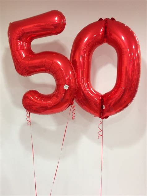 Large Red 50 Number Balloons