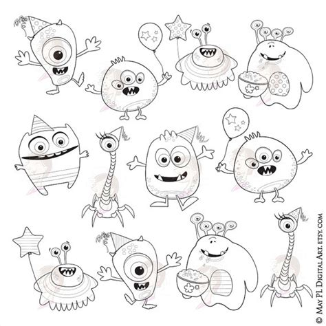little monsters coloring pages little monsters clipart digital sts cute monsters