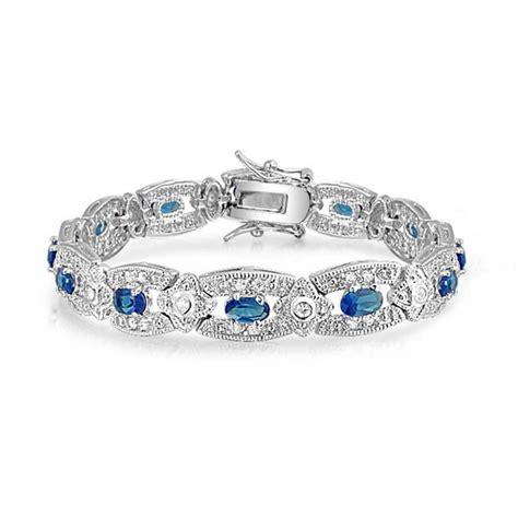 Blue Sapphire Bracelet blue sapphire colored cz silver tone antique bracelet